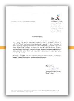 Referencje od firmy Hettich dla OPEN