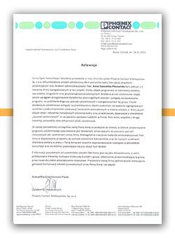 List referencyjny od firmy Phoenix Contact dla firmy OPEN