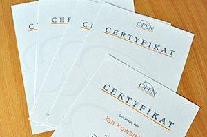 certyfikaty - OPEN